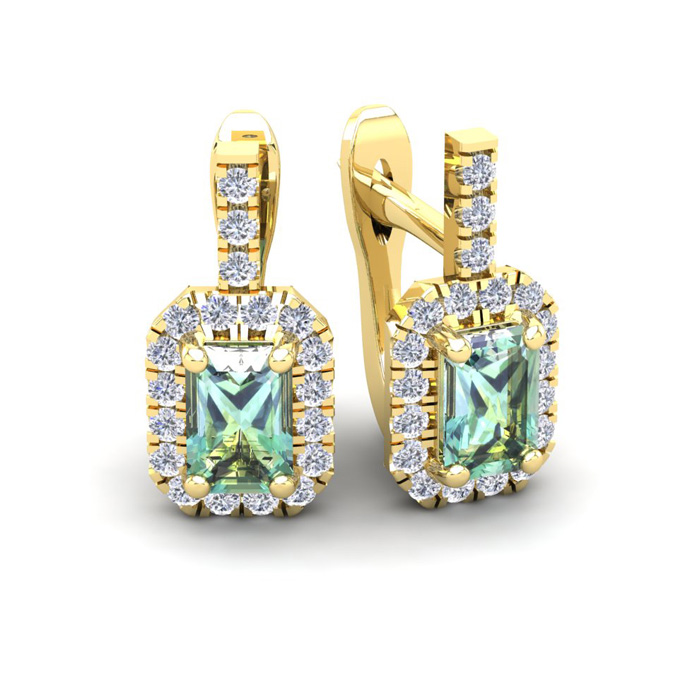 1.5 Carat Green Amethyst & Halo Diamond Dangle Earrings in 14K Ye