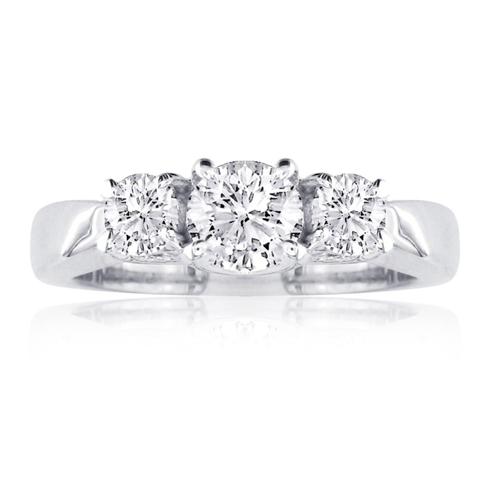 1/2 Carat Engagment Three Diamond Ring in 14k White Gold, I/J by
