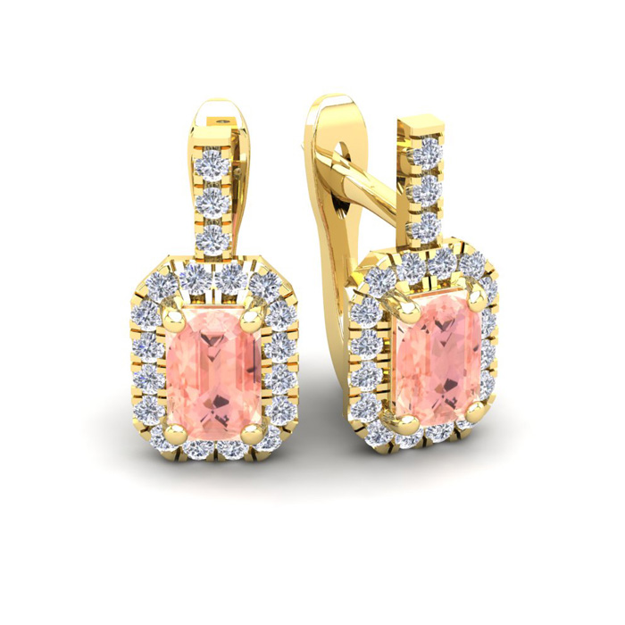 1 3/4 Carat Morganite & Halo Diamond Dangle Earrings in 14K Yello