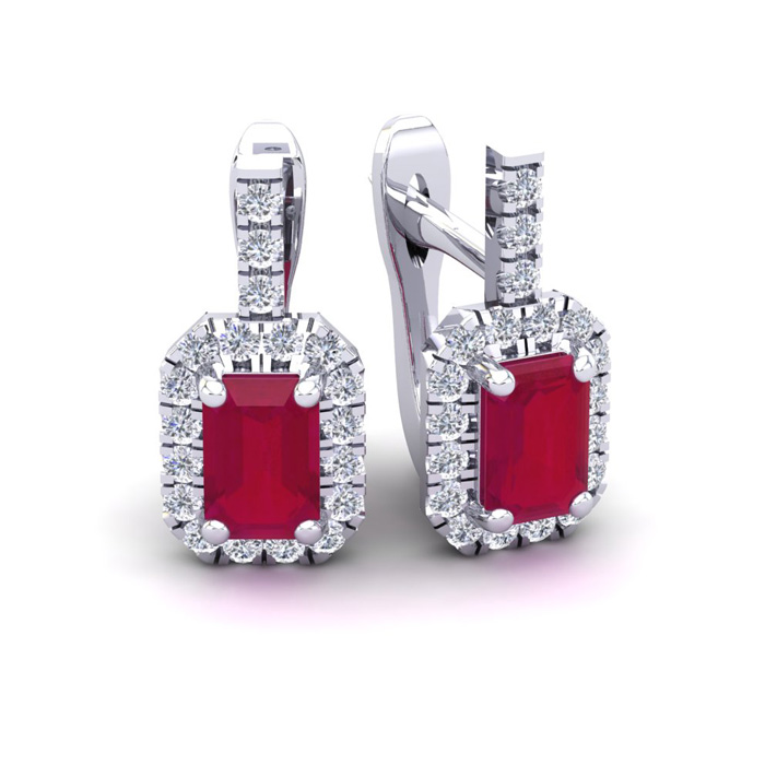 2 Carat Ruby & Halo Diamond Dangle Earrings in 14K White Gold (3.