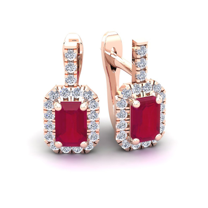 2 Carat Ruby & Halo Diamond Dangle Earrings in 14K Rose Gold (3.4
