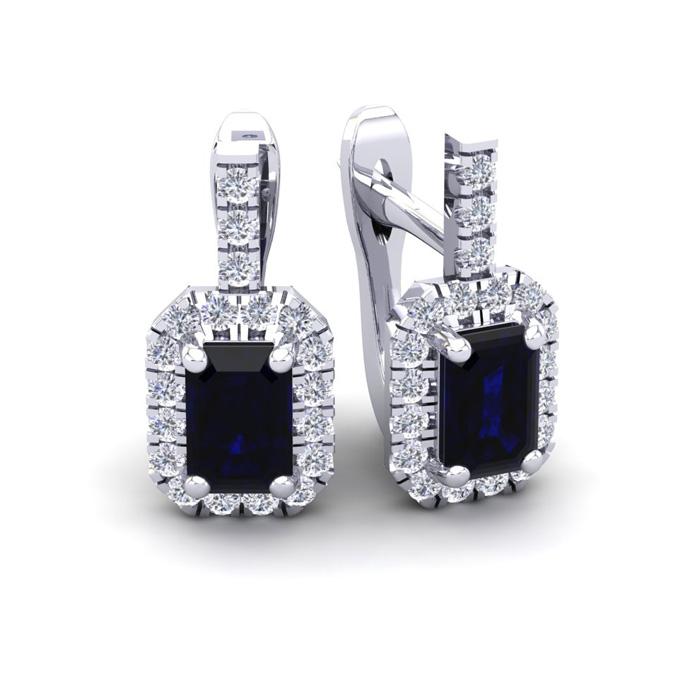 2 Carat Sapphire & Halo Diamond Dangle Earrings in 14K White Gold (3.4 g), I/J by SuperJeweler