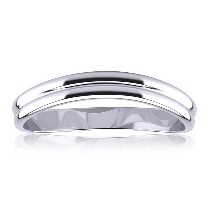 10K White Gold (1.4 g) 3MM Comfort Fit Curved Double Wave Thumb R