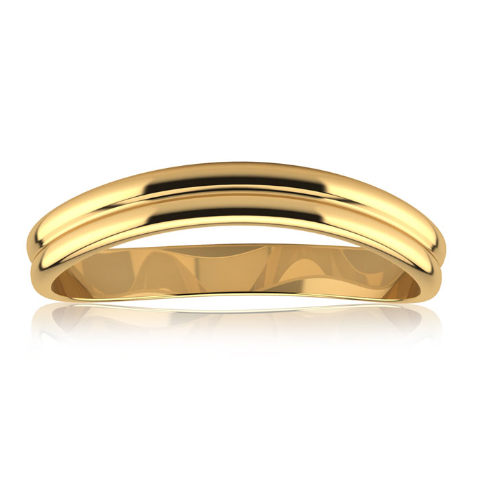 10K Yellow Gold (1.4 g) 3MM Comfort Fit Curved Double Wave Thumb