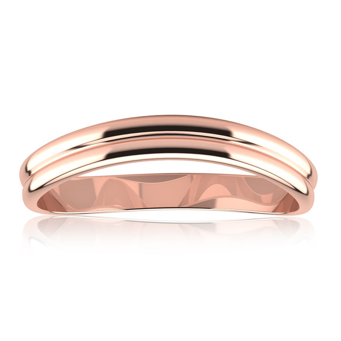 10K Rose Gold (1.4 g) 3MM Comfort Fit Curved Double Wave Thumb Ring by SuperJeweler