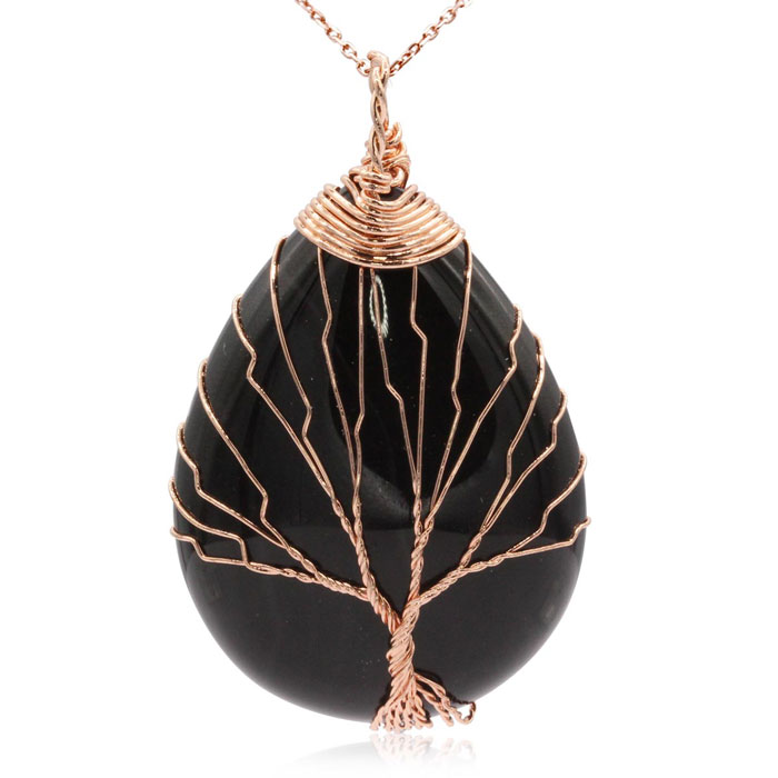 Rose Gold Tree of Life Wire Wrapped Black Onyx Teardrop Necklace,
