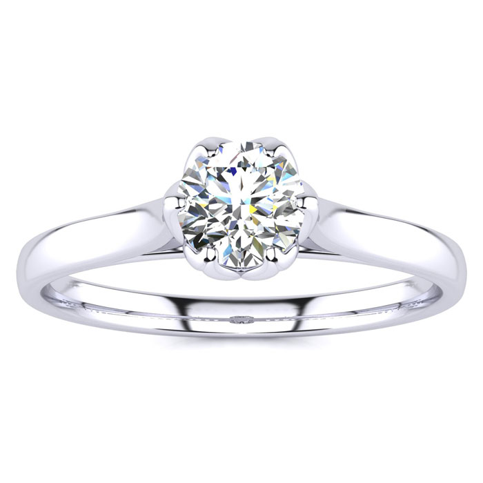 1/2 Carat Diamond Solitaire Engagement Ring in 14K White Gold (3.