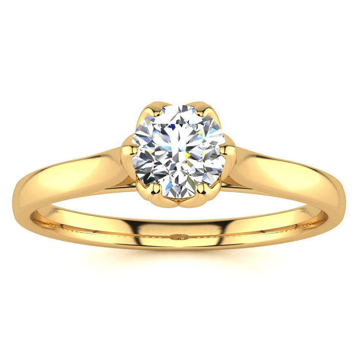 1/2 Carat Diamond Solitaire Engagement Ring in 14K Yellow Gold (3