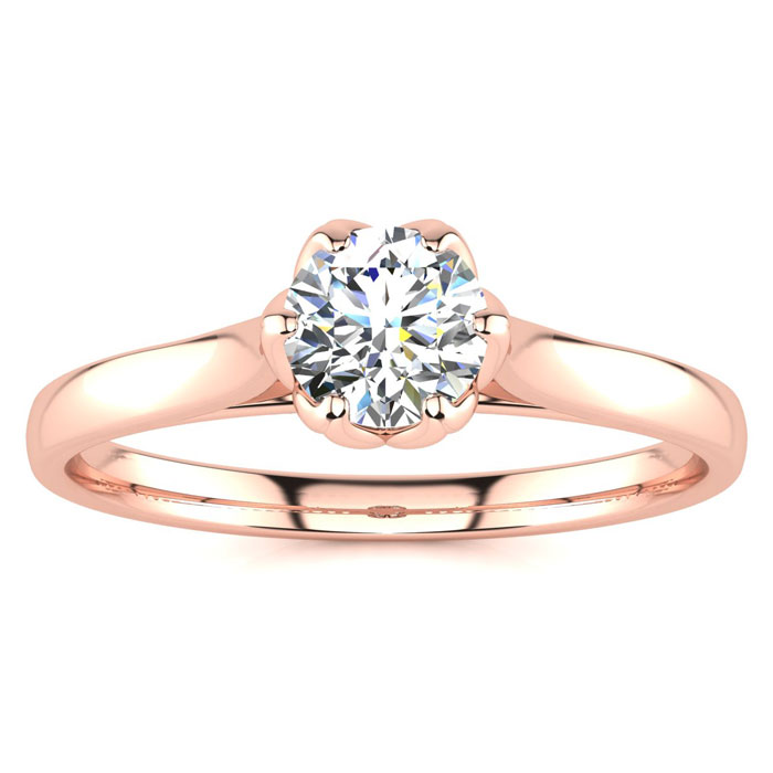1/2 Carat Diamond Solitaire Engagement Ring in 14K Rose Gold (3.3