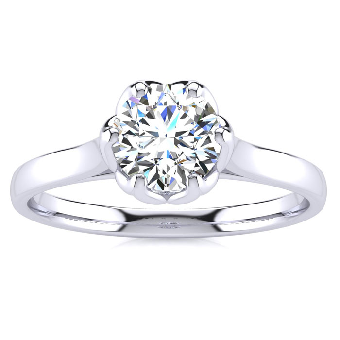 3/4 Carat Diamond Solitaire Engagement Ring in 14K White Gold (3.