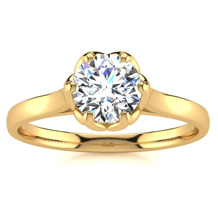 3/4 Carat Diamond Solitaire Engagement Ring in 14K Yellow Gold (3