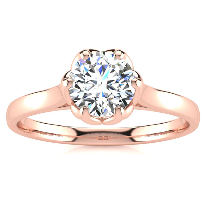 3/4 Carat Diamond Solitaire Engagement Ring in 14K Rose Gold (3.7