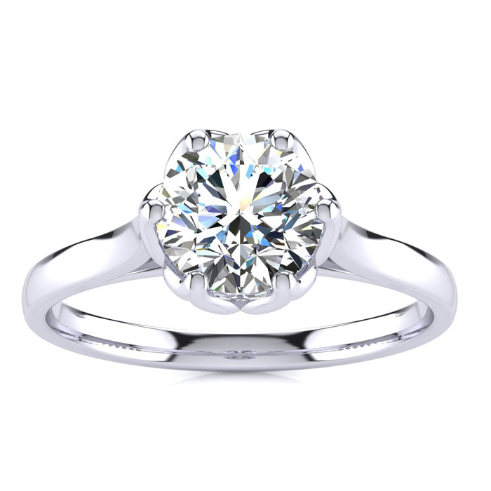 1 Carat Diamond Solitaire Engagement Ring in 14K White Gold (3.7