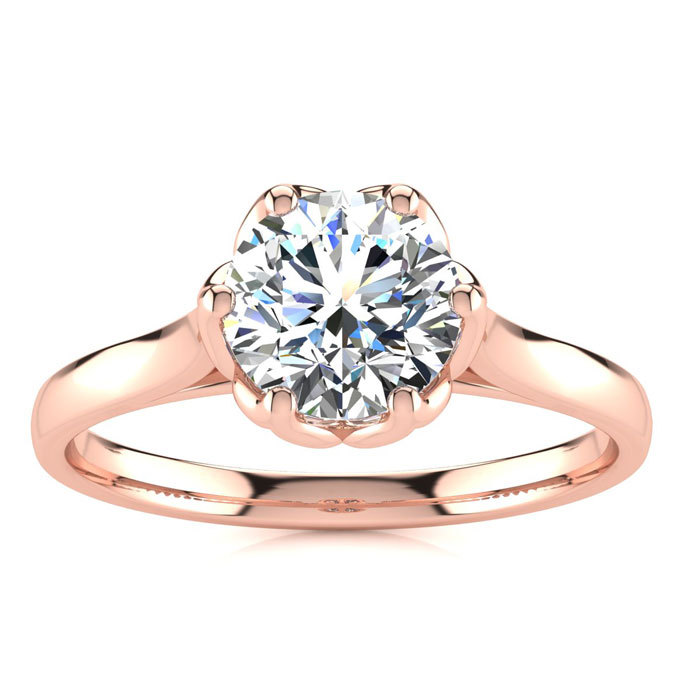 1 Carat Diamond Solitaire Engagement Ring in 14K Rose Gold (3.7 g