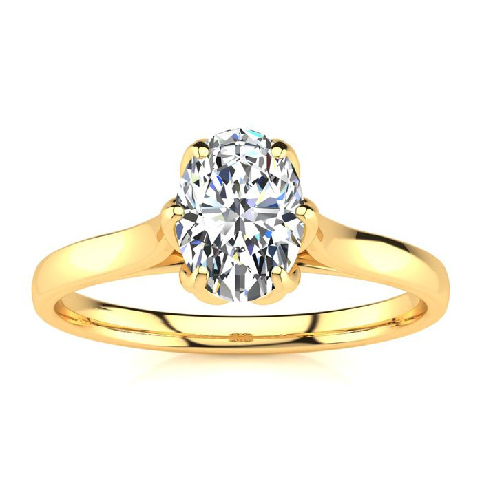 3/4 Carat Oval Shape Solitaire Engagement Ring in 14K Yellow Gold