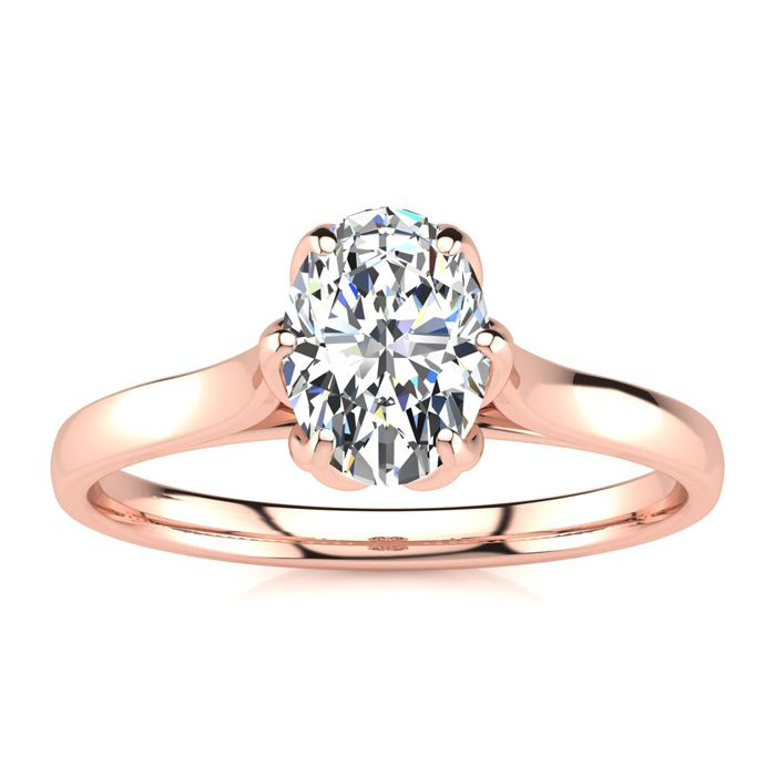 3/4 Carat Oval Shape Solitaire Engagement Ring in 14K Rose Gold (