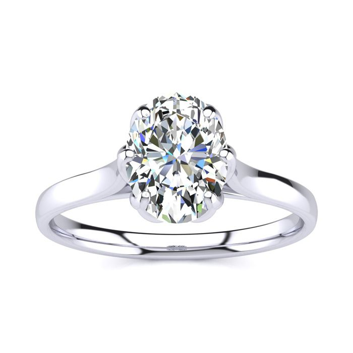 1 Carat Oval Shape Solitaire Engagement Ring in 14K White Gold (3.5 g) (H-I, SI2-I1) by SuperJeweler