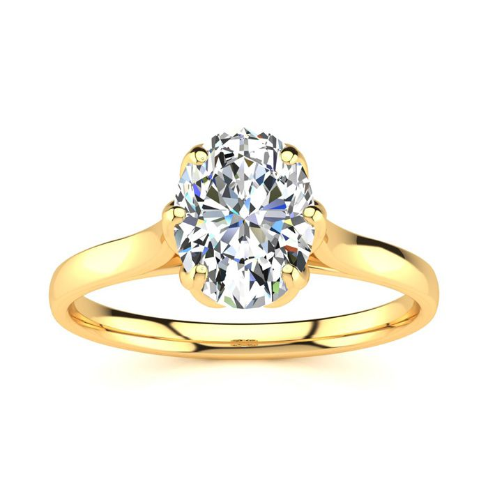 1 Carat Oval Shape Solitaire Engagement Ring in 14K Yellow Gold (