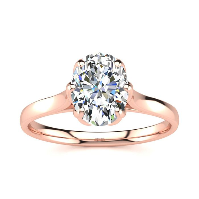 1 Carat Oval Shape Solitaire Engagement Ring in 14K Rose Gold (3.5 g) (H-I, SI2-I1) by SuperJeweler