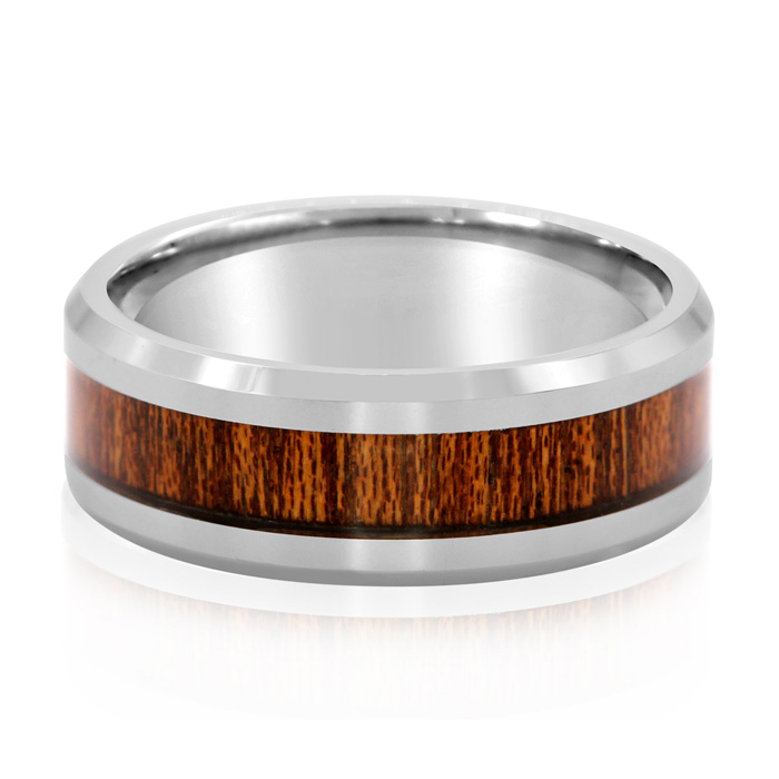 8MM Ethically Sourced Koa Wood & Tungsten Carbide Ring by SuperJe
