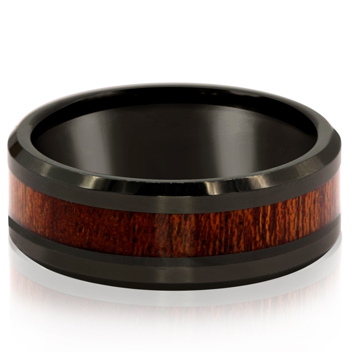 8MM Ethically Sourced Koa Wood & Black Tungsten Carbide Ring by S