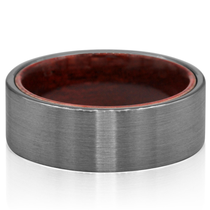 8MM Brushed Tungsten & Ethically Sourced Koa Wood Flat Top Ring b