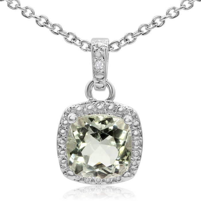 2 Carat Cushion Cut Green Amethyst & Halo Diamond Necklace, 18 Inches,  by S..