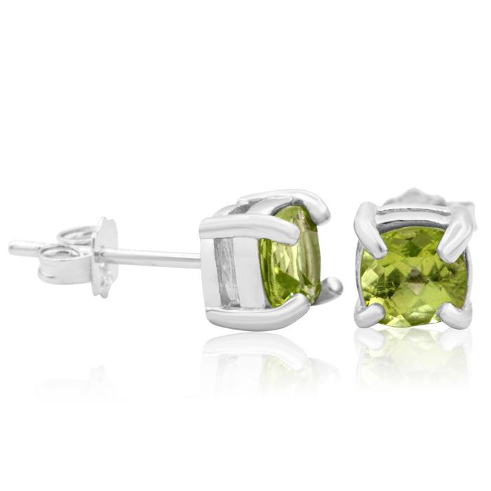 ff0c4d903c11e Peridot Earrings | August Birthstone | 1 1/2 Carat Cushion Cut ...