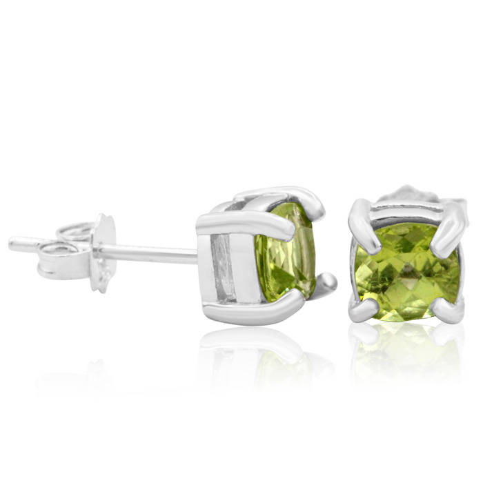 1.5 Carat Cushion Cut Peridot Stud Earrings in Sterling Silver by