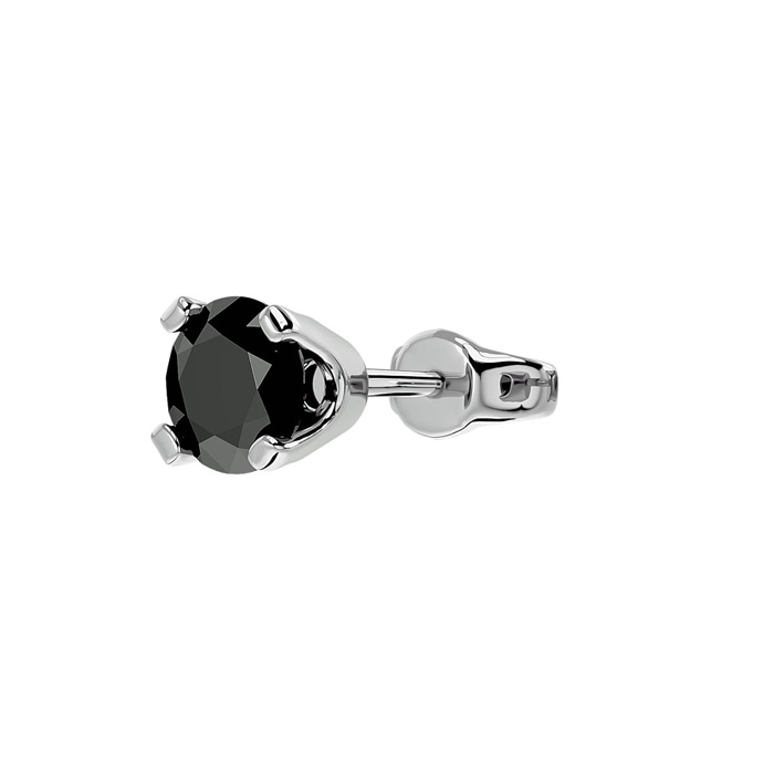 1/2 Carat Black Diamond SINGLE STUD Earring in 10k White Gold by SuperJeweler