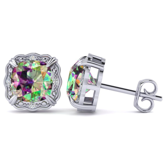 2 Carat Cushion Cut Mystic Topaz & Diamond Earrings in 10k White