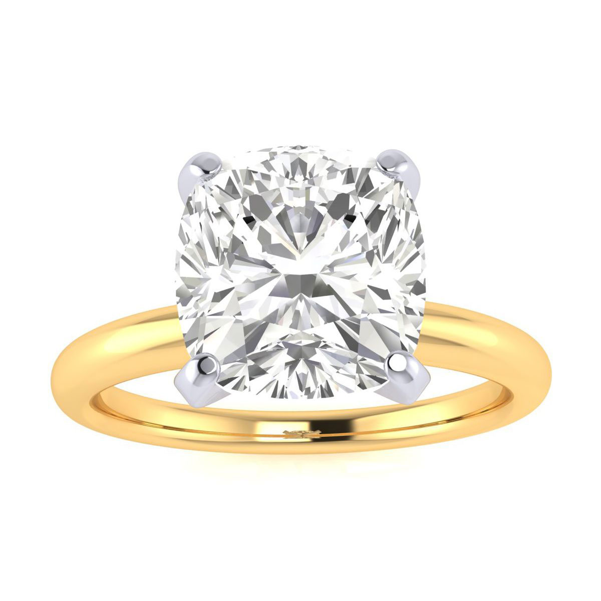 3ct Very Fine Cushion Diamond Solitaire in 14k Yellow Gold. Incredible Value.