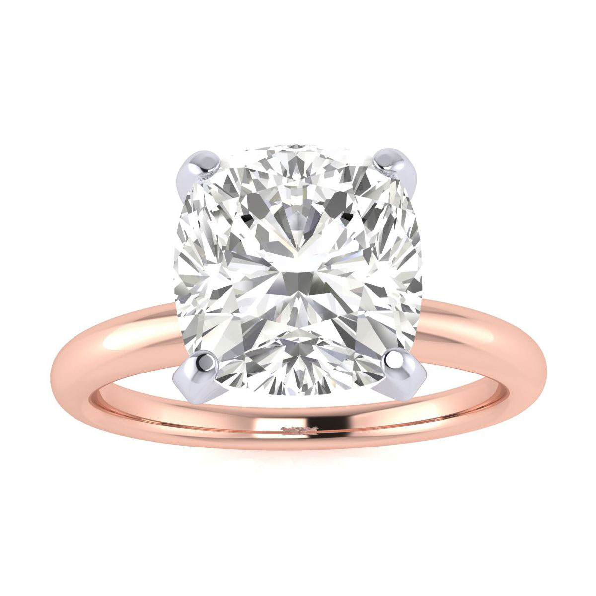 3 Carat Cushion Cut Diamond Engagement Ring in 14k Rose Gold (6.2
