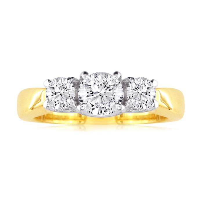 1/2 Carat Trellis Motif Three Diamond Engagement Ring in 14k Two