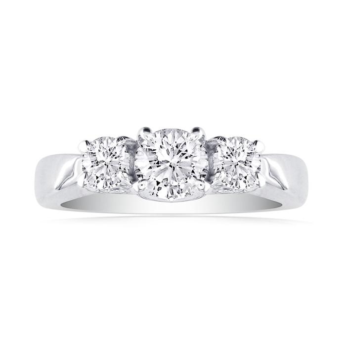 3/4 Carat Trellis Motif Three Diamond Engagement Ring in 14k Whit