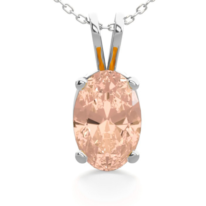 1/2 Carat Oval Shape Morganite Necklace in Sterling Silver, 18 In