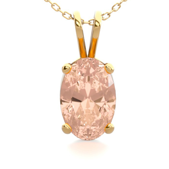1/2 Carat Oval Shape Morganite Necklace in 14K Yellow Gold Over S