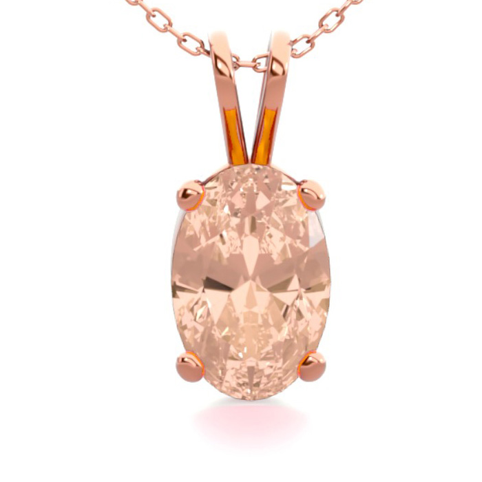 1/2 Carat Oval Shape Morganite Necklace in 14K Rose Gold Over Ste