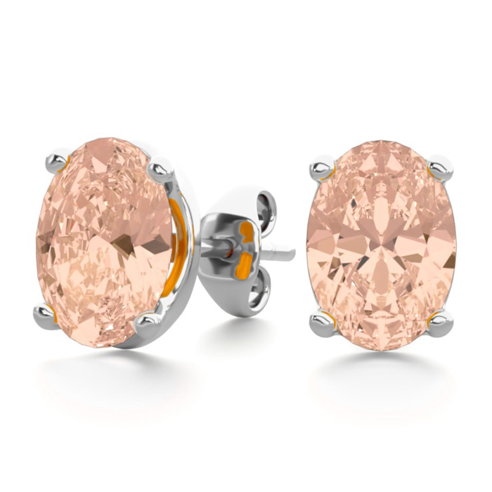 1.25 Carat Oval Shape Morganite Stud Earrings in Sterling Silver