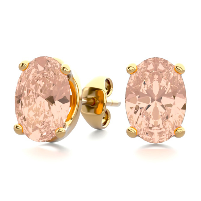 1.25 Carat Oval Shape Morganite Stud Earrings in 14K Yellow Gold