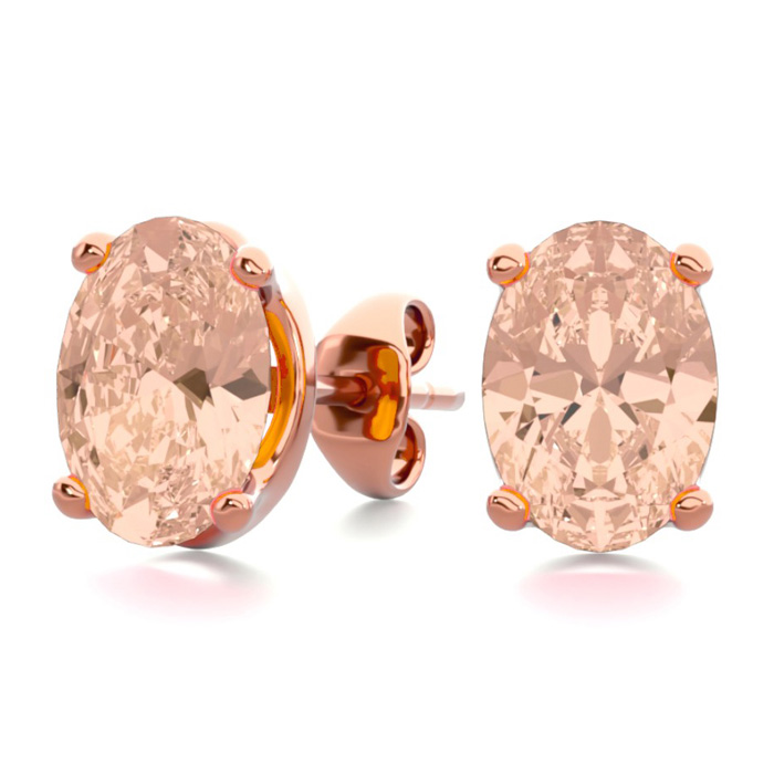 1.25 Carat Oval Shape Morganite Stud Earrings in 14K Rose Gold Ov