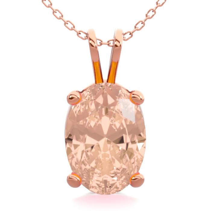 0.60 Carat Oval Shape Morganite Necklace in 14K Rose Gold Over St