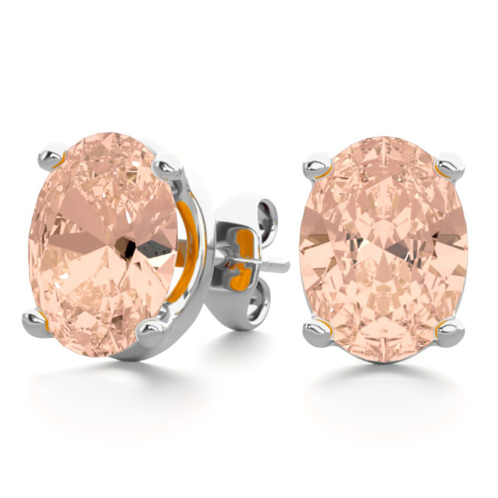 2 Carat Oval Shape Morganite Stud Earrings in Sterling Silver by