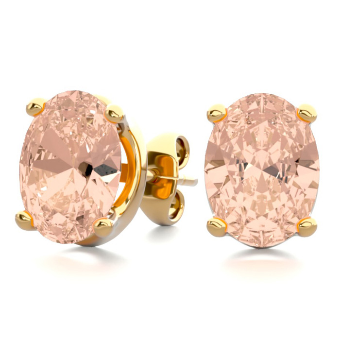 2 Carat Oval Shape Morganite Stud Earrings in 14K Yellow Gold Ove