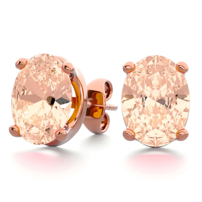 2 Carat Oval Shape Morganite Stud Earrings in 14K Rose Gold Over