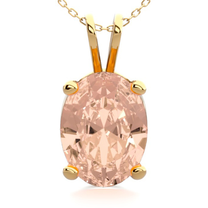 1 Carat Oval Shape Morganite Necklace in 14K Yellow Gold Over Ste