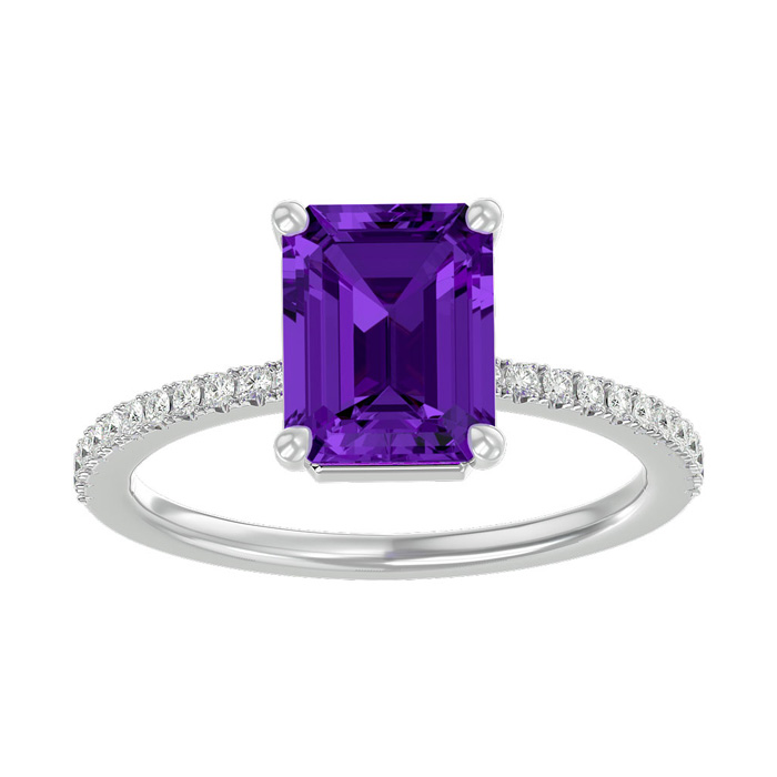 1.5 Carat Amethyst & Diamond Ring in 14K White Gold (2.6 g), I/J