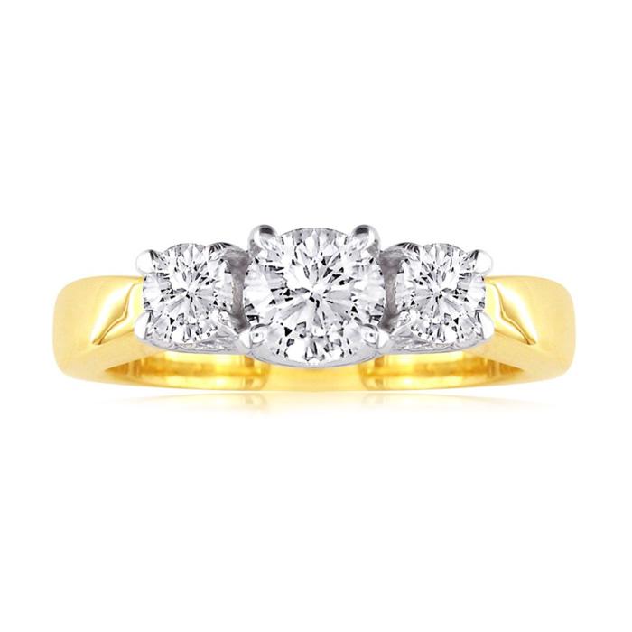3/4 Carat Trellis Motif Three Diamond Engagement Ring 14k Two Tone Gold (H-I, SI2-I1) by SuperJeweler