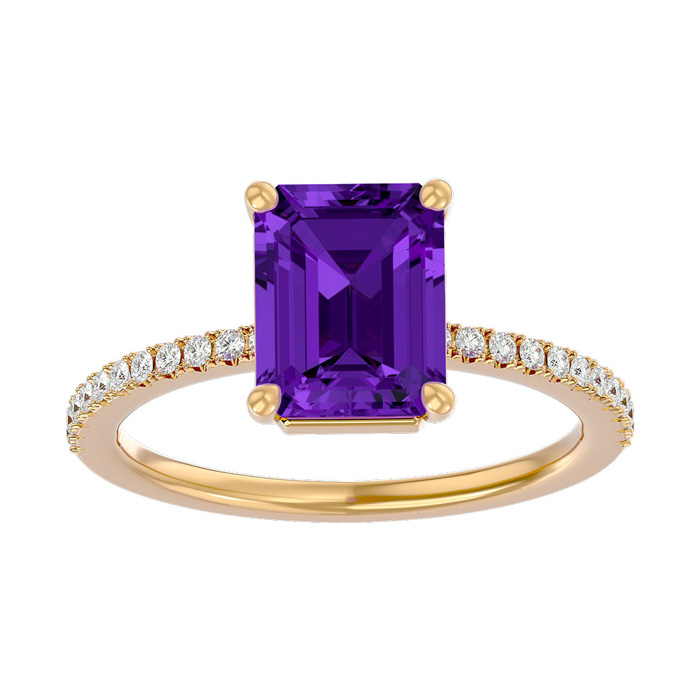 1 1/2 Carat Emerald Shape Amethyst and Diamond Ring In 14 Karat Yellow Gold