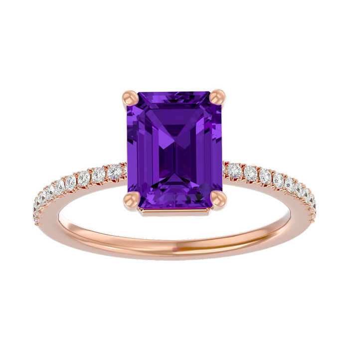 1 1/2 Carat Emerald Shape Amethyst and Diamond Ring In 14 Karat Rose Gold